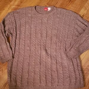 Liz&Co brown crewneck cable knit sweater size L